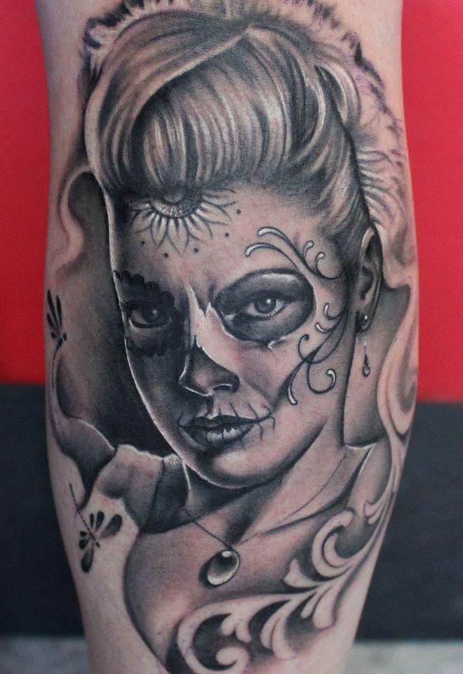 Sugar skull girl tattoos and stuff pinterest sugar skull girl tattoo and tatting - Santa muerte tatouage signification ...