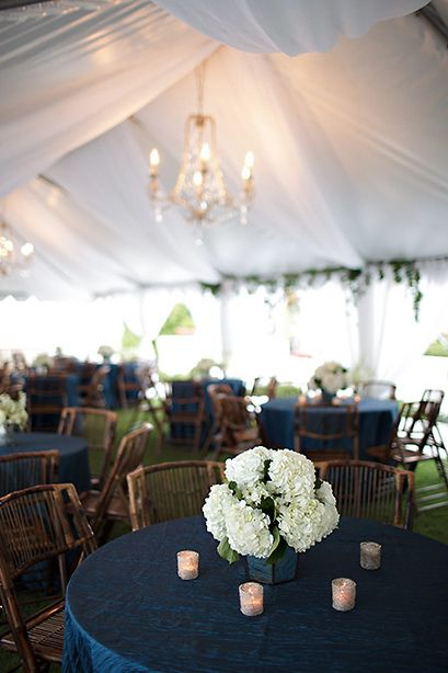 Navy blue crinkle taffeta tablecloths. So pretty with the green and wood colours.