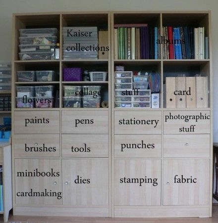 each drawer or cubbie shelf is its own category of craft supplies