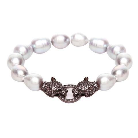 Alicia Crystal Tiger & Grey Fresh Water Pearl Bracelet