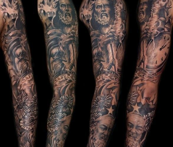 Download Free Sleeve tattoo idea for men. roman warrior and zues: Tattoo Ideas ... to use and take to your artist.