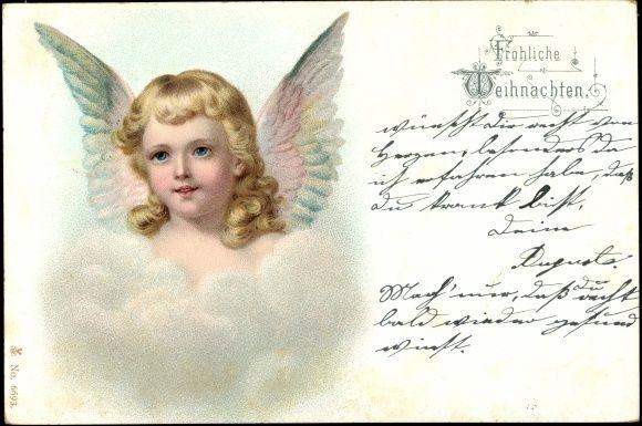 Ansichtskarte / Postkarte Frohe Weihnachten, Engel, Gesicht, Flügel, Wolke, Blonde Locken | akpool.de