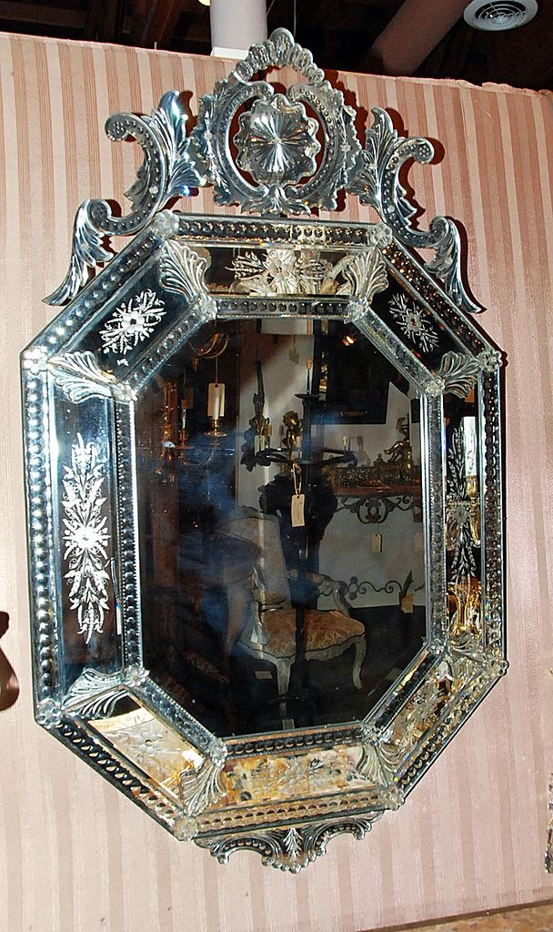 a great focal point to nearly any room -Antique Venetian Mirror