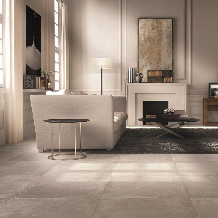 Collezione DOCKS #abkemozioni #livingroom #floor Warm 60x60cm una tonalità neutra che intensifica l'impatto scenico di un ambiente velando di calda raffinatezza le sue superfici. #gres #porcellanato #ceramic #tiles #homedesign