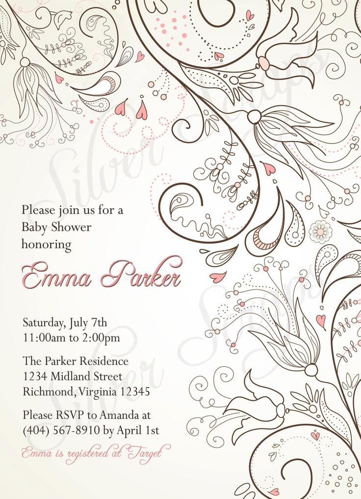 Doodle Floral Custom Digital Bridal, Baby Shower, or Bridesmaids Luncheon Invitation - Pink Ivory Brown Flowers Bird Hearts Rustic Girl Boy. $15.00, via Etsy.