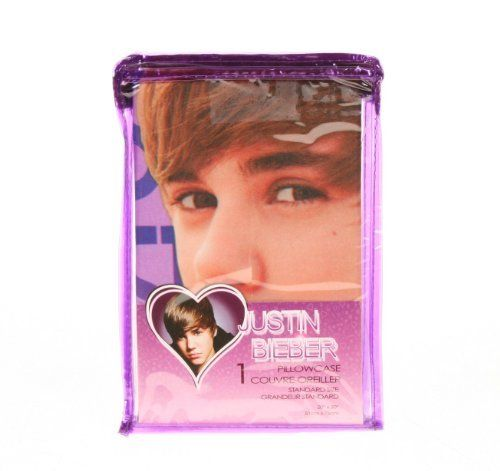 """Justin Bieber Pillowcase (1) Standard Size 20""""x30"""" by Justin Bieber. $34.95. Pink and purple background, not stock photo, what you see is what you get. Officially licensed Justin Beiber image with his signature. One standard size pillowcase 20"""" by 30"""" 100% polyester, machine washable. Perfect item for the true Justin Bieber Fan. This pink and purple 100% polyester pillowcase has a great upperbody image of Justin Bieber his back is to you and with his head turned to loo..."""