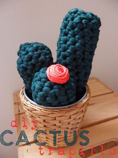 Cactus de Trapillo a Crochet Patrón Gratis en Catalán y más abajo en Español