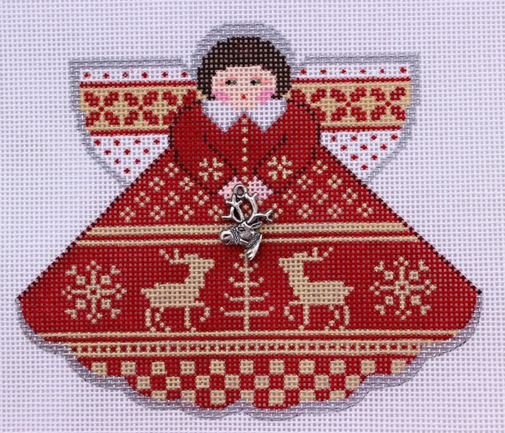 Painted Pony Designs Red Christmas Sampler Angel 996HA HP Needlepoint Canvas http://myworld.ebay.com/bloominstitches $57.99