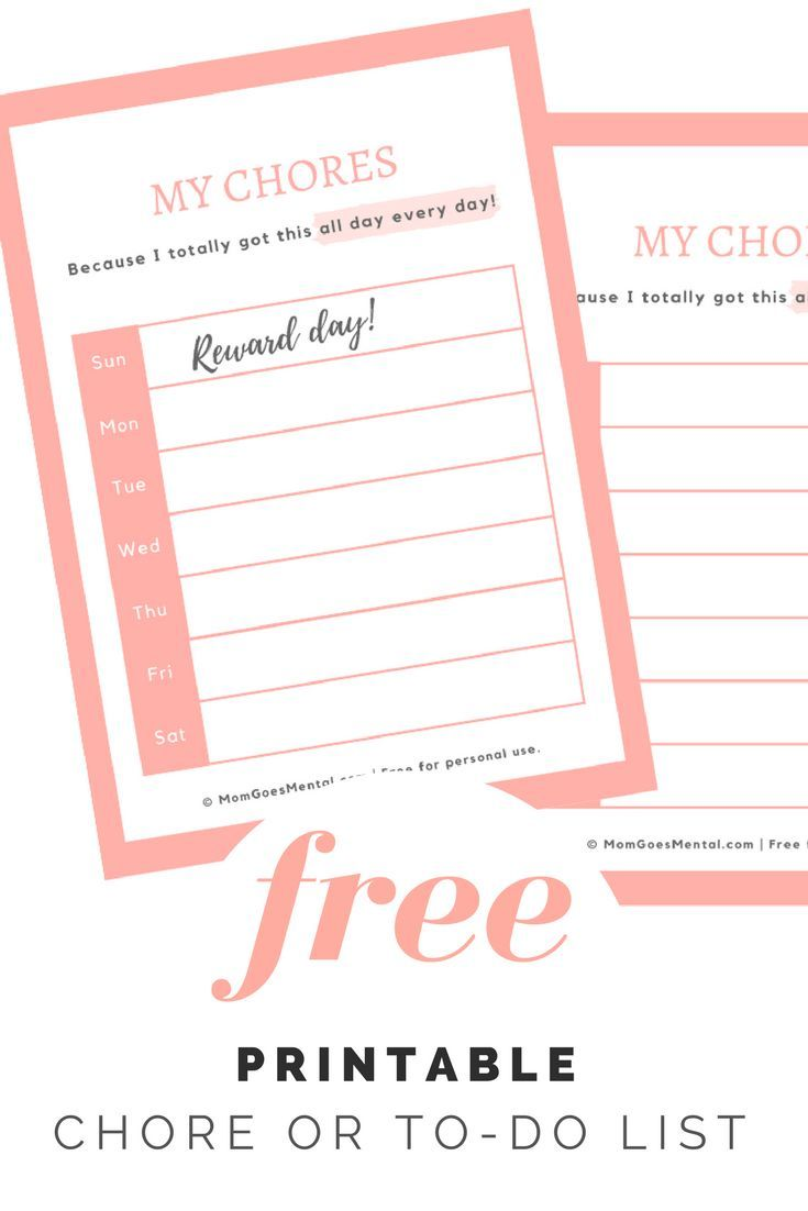 pretty pink to do list or chore list printable from momgoesmental