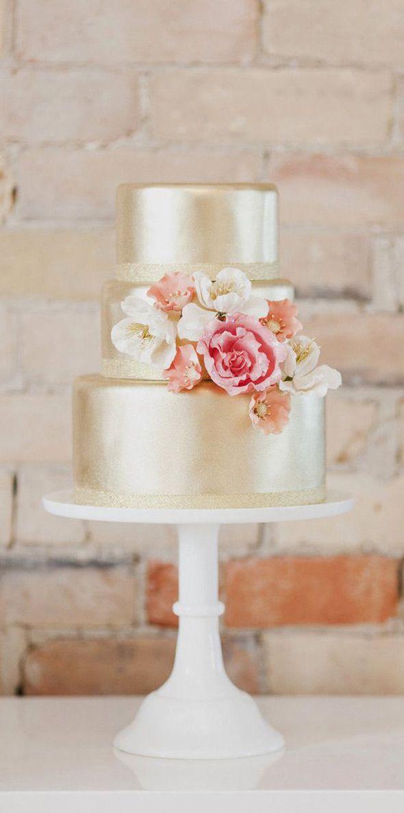 30 Stunning Metallic Wedding Cakes | see them all on www.onefabday.com