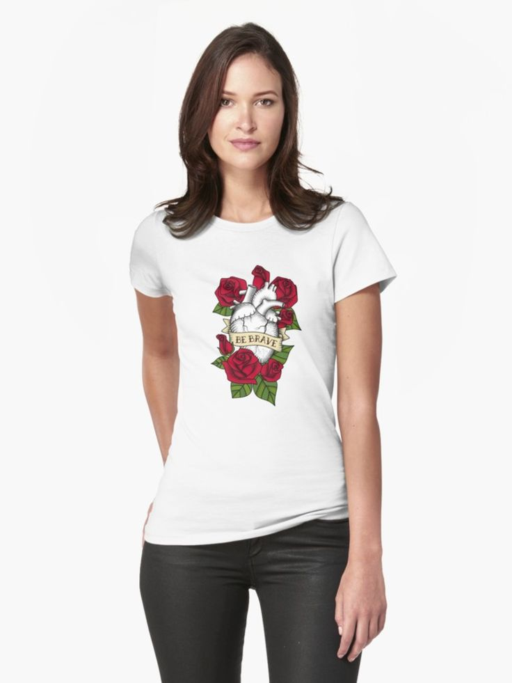 #Roses #Brave #Kind #Love #Red #tattoo #Bold #heart #Mia #Miavaldez #Redbubble #tshirt #womens