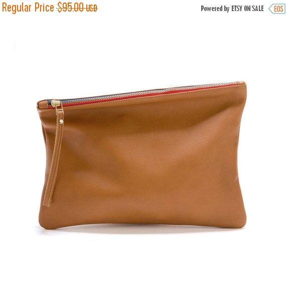 Brown Leather Clutch Evening Bag Foldover Clutch Bag by LeahLerner
