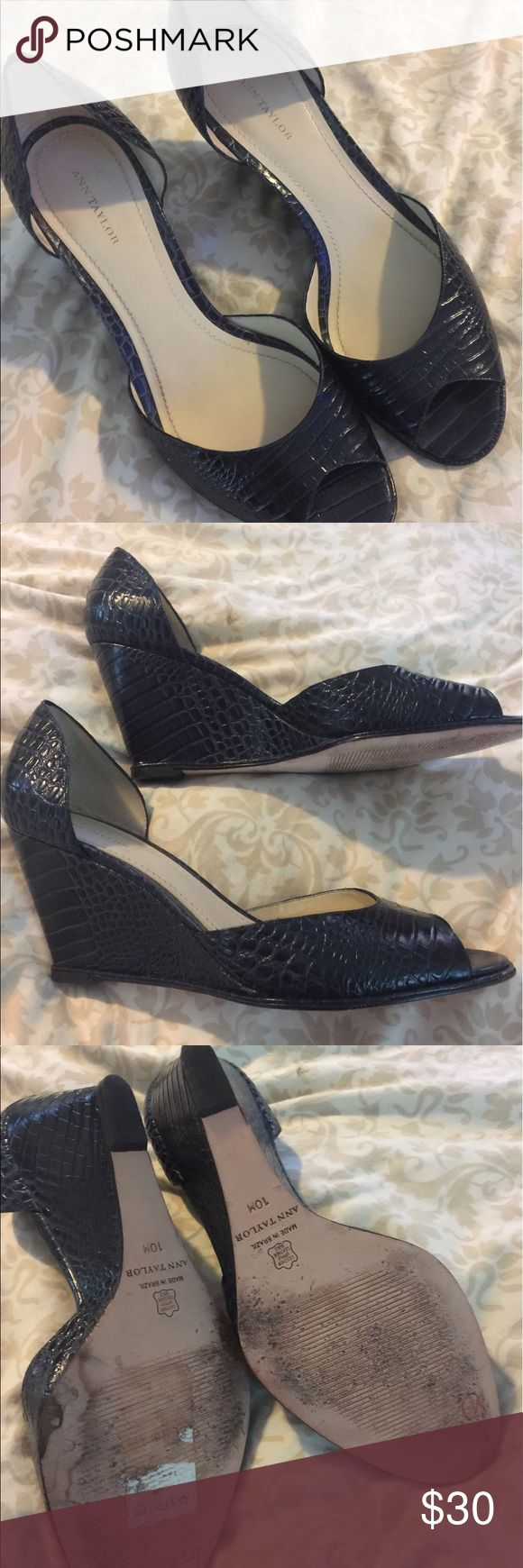 Ann Taylor navy wedge shoes Navy patent shoes in excellent condition Ann Taylor Shoes Wedges