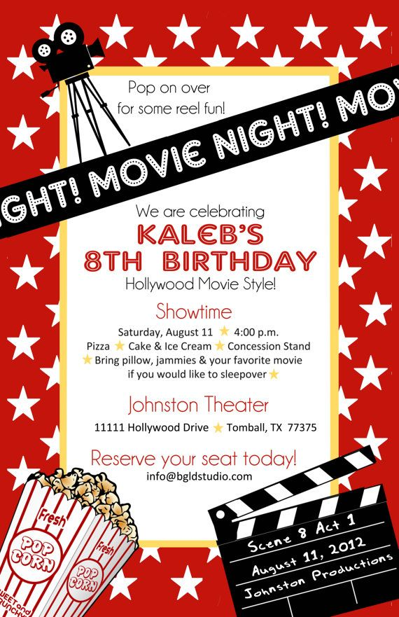 17 Best images about Hollywood Party – Hollywood Themed Birthday Invitations