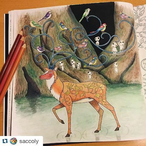 Demais esse fundo! By @saccoly ・・#florestaencantada   #desenhoscolorir  #enchantedforest #ねむれる森 #adultcoloring #adultcolouring #forestenchanted #colorpencil #色鉛筆 #大人の塗り絵 #coloriage #coloringbook #colorindo #arttherapy #johannabasford #staedtler #ジョハンナバスフォード #watercolor #コロリアージュ #水彩絵具 #もののけ姫 #こだま #シシ神