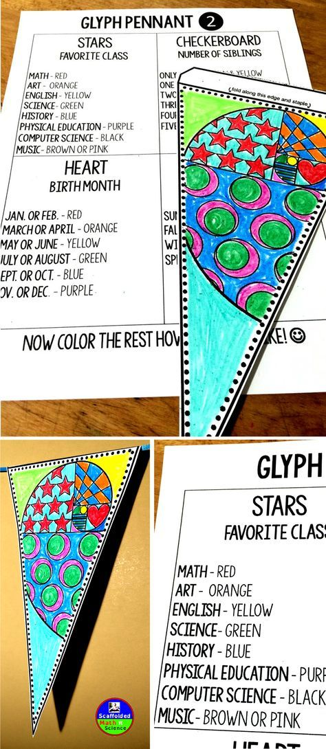 """""""A glyph?"""" I asked myself 2 days ago. """"What is a GLYPH?"""" I asked some friends and one of them knew. """"It's like one of those things where kids color based on things they like, like they'd color the stars yellow if their favorite class is Art."""" """"Oh I see!"""" Glyphs are COOL! So now this fun Back to School activity also includes glyph directions:) It's a perfect all about me activity to get to know students at the beginning of the year or anytime you get new students."""