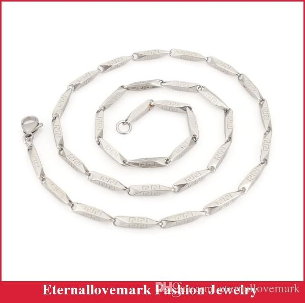 Fashion jewelry boys girls necklace stainless steel chains silver tone