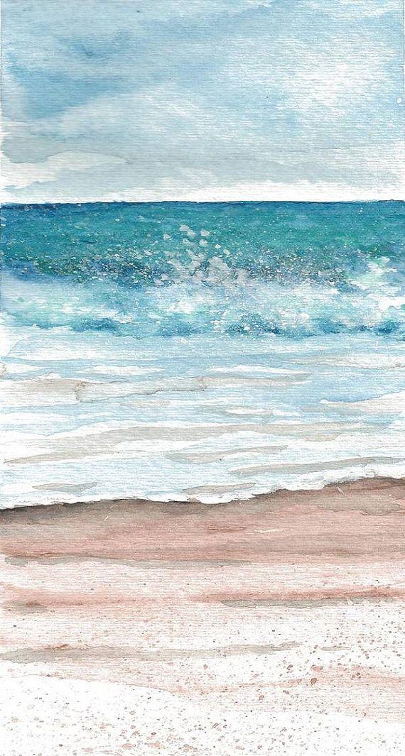 Beach, waves, coast, shoreline, Print of Original Watercolor 'Water's Edge'