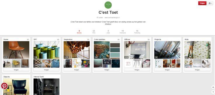 Esther Toet is een kleur- en stijladviseur van Nederland. Op haar pagina vind je haar visie, inspiratie en haar projecten terug. Ze heeft ook enkele DIY-ideeën op een aparte board. Haar Pinterest is mooi verdeeld en clean. https://nl.pinterest.com/cest2866/