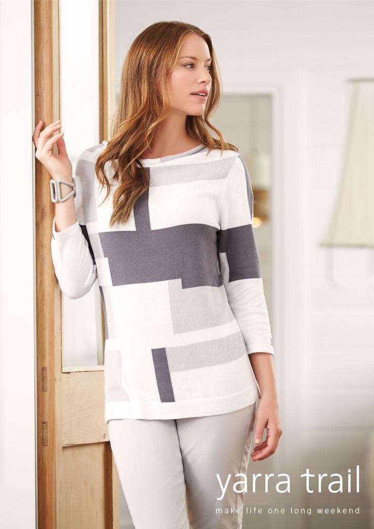 Soft and luxurious, our beautiful relaxed neck Grey Mix Intarsia Knit is the ultimate transeasonal piece. Featuring 3/4 sleeves, side splits and a modern intarsia knit detailing. A summer essential you surely cant go past.  Shop Now http://www.yarratrail.com.au/knitwear