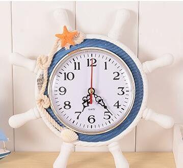 High Quality Desktop Clock Sailor Rudder Grabber Digital Alarm Clock Home Decoration Mediterranean Sea Wooden Wall Clock