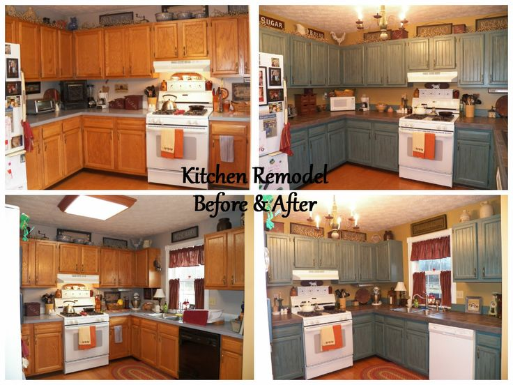 Before after kitchen remodel slate tile countertops for Painting kitchen countertops before and after