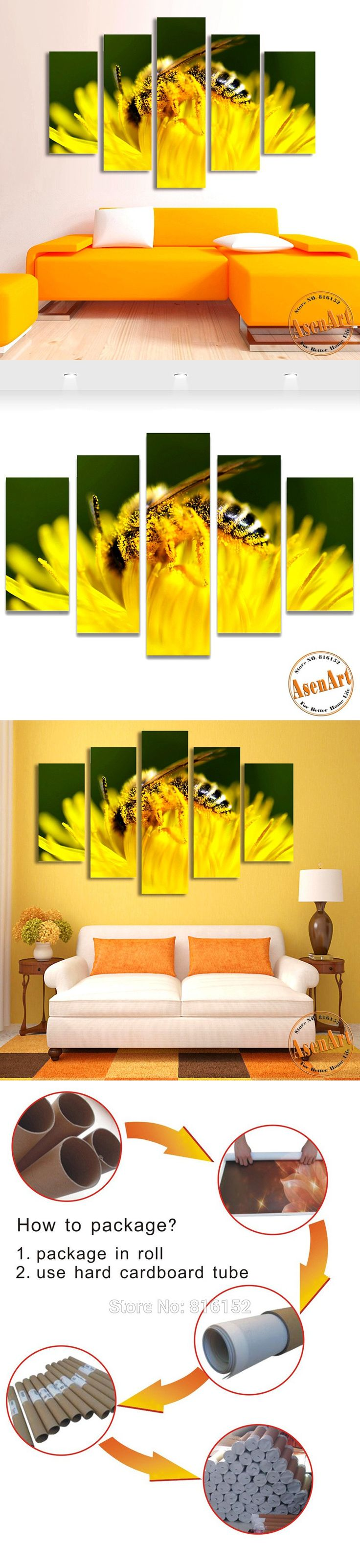5 Panel Wall Art Canvas Prints Honey Bee Pictures Animal Painting Yellow Flower Pictures for Bedroom Modern Home Decor No Frame $56