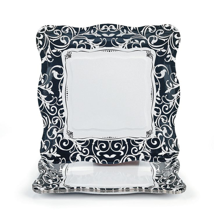 Damask dinner plates. Thought these would look cute & sophisticated with the blue? What do you think??