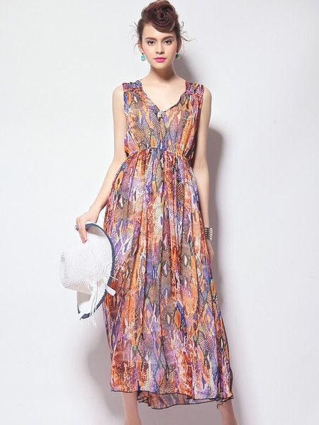 #Stylewe Printed Polyester Maxi Dress #outfits #summer #holiday #fashion