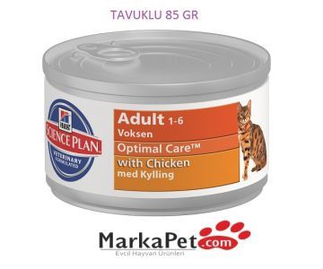 Hills Science Feline Adult Optimal Care With Chicken & Tavuklu Yetişkin Konserve Kedi Maması 85gr
