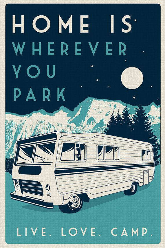 vintage retro camping silk screen print poster live love camp camper night sky - etsy