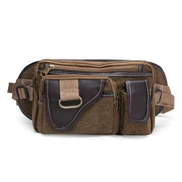 Men's Canvas Shoulder Bags Outdoor Sports Pockets Chest Pack - US$14.47