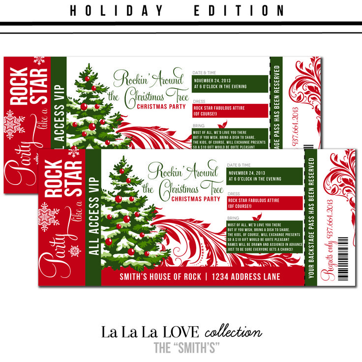 34 best Christmas movie party images on Pinterest Merry - movie ticket invitation template free printable