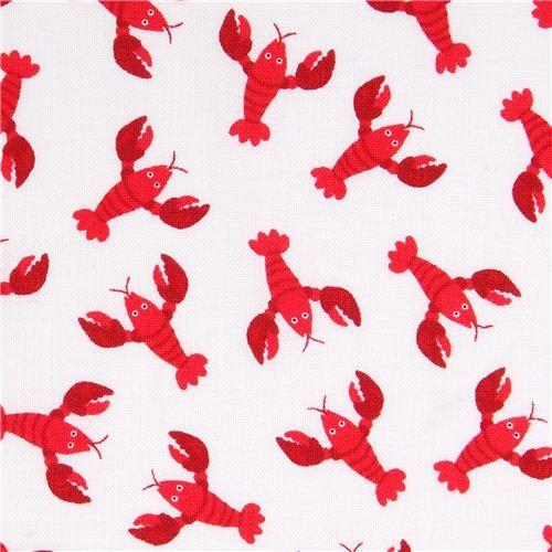 white mini lobster animal fabric Timeless Treasures
