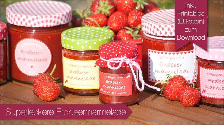 Rezept Erdbeermarmelade Etiketten Printables download kostenlos