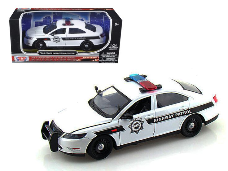 Ford Police Interceptor Concept Highway Patrol Car 1/24 Diecast Model Car by Motormax - Brand new 1:24 scale diecast model of Ford Police Interceptor Concept Highway Patrol die cast car by Motormax. Brand new box. Rubber tires. Has opening hood and doors. Made of diecast with some plastic parts. Detailed interior, exterior, engine compartment. Dimensions approximately L-8, W-4, H-3.25 inches. Please note that manufacturer may change packing box at anytime. Product will stay exactly the…