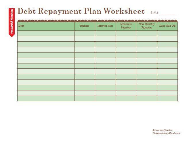 free printable debt repayment plan worksheet