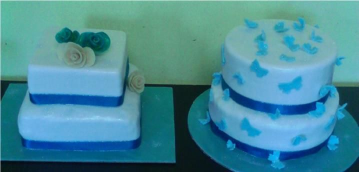 Blue Butterfly and Rose wedding cakes - Wedding cake by Fairyfield cakes Krugersdorp fairfield@live.co.za 0839427354
