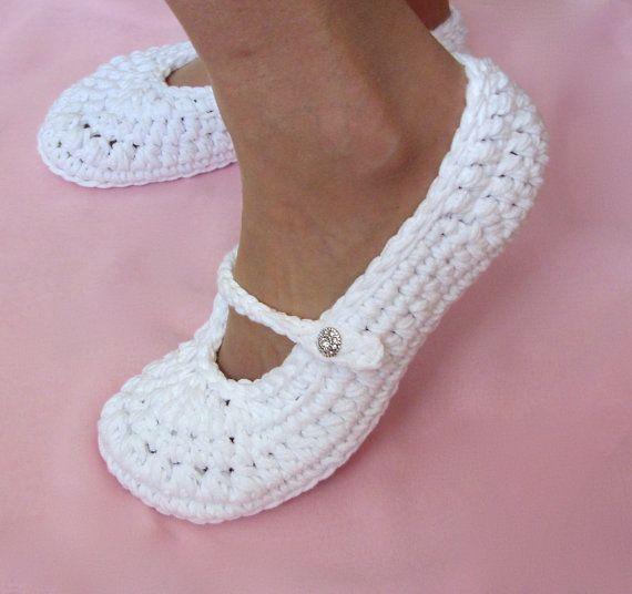 Bridal Slippers Wedding Slippers Crochet by LisaCorinneCrochet