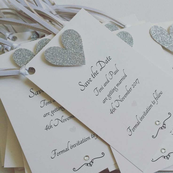 Silver Glitter Heart Wedding Save The Date Tags Ohsopurrfectcouk