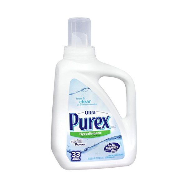 Ultra Purex Hypoallergenic Free and Clear Laundry Detergent: Clothes making you itchy and red? Try one of these dye-free, fragrance-free detergents.