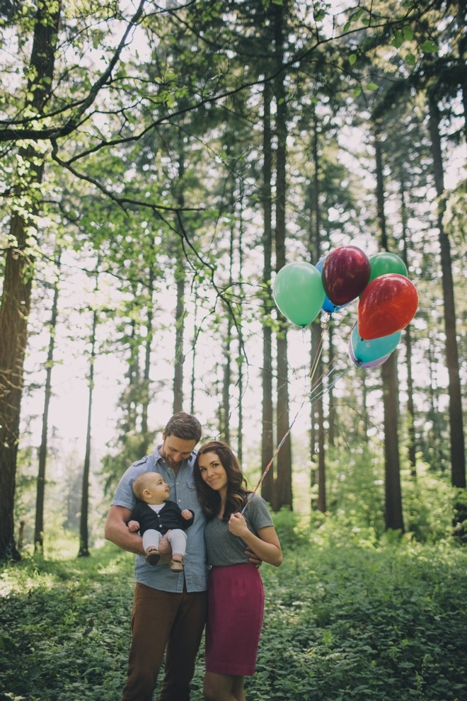 I like the idea of using props to add color or dimension to the photos.  Balloons would be much fun or beach balls.