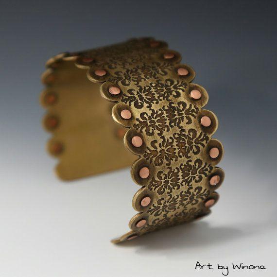 Brass cuff etched brass cuff steam punk bracelet rivet