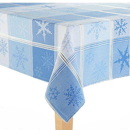 Christmas Blue Snowflake Woven Tablecloth Size 60 X 84 Oblong St. Nicholas  Square Http:
