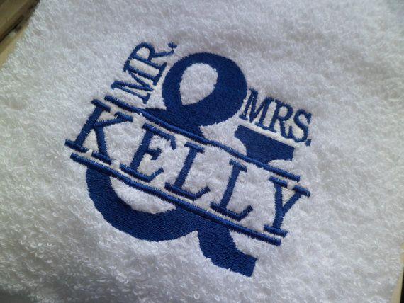 Set of two monogrammed bath towels. Wedding, Birthday, Graduation, Men, Women