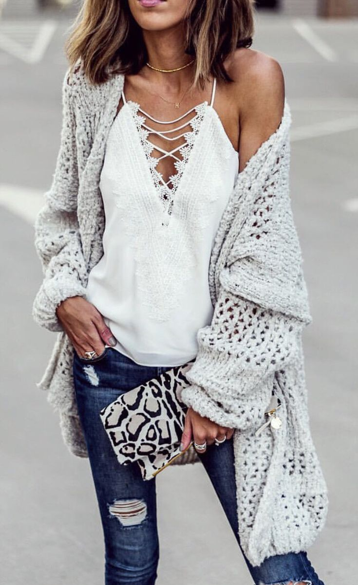 #winter #outfits white crisscross spaghetti-strap shirt. Click To Shop This Look.