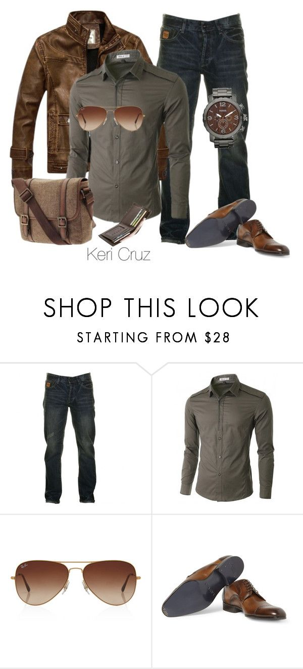 """""""Rugged Men's Fashion"""" by keri-cruz ❤ liked on Polyvore featuring Two Stoned, Doublju, Rayban, FOSSIL and Lanvin"""