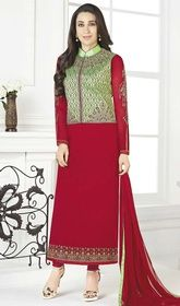 Karisma Kapoor Red Color Georgette Churidar Kameez #bollywoodclothes #bollywoodsuitsonline Stir up a balmy effect as Karisma Kapoor draped in this red color georgette churidar kameez. This lovely dress is displaying some astounding embroidery done with lace and resham work. USD $ 89 (Around £ 61 & Euro 68)