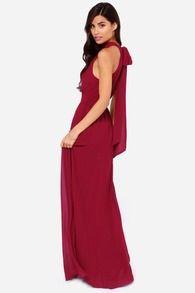 Wine Red Sleeveless Halter Maxi Dress