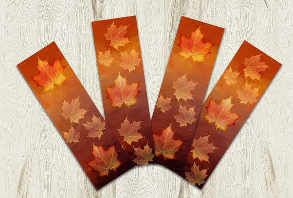 Printable Bookmark Set Maple Leaves Autumn by PlayfulPixieStudio